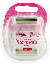 """Духи, Парфюмерия, косметика Сменные кассеты с тройным лезвием для женского станка """"Mermaid"""", 3 шт. - Feather Mermaid Rose Pink"""