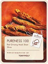 Духи, Парфюмерия, косметика Тканевая маска с экстрактом красного женьшеня - Tony Moly Pureness 100 Red Ginseng Mask Sheet