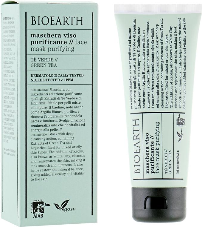 Маска для лица, очищающая - Bioearth Clarifying Green Tea Face Mask