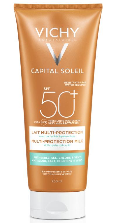 Солнцезащитное водостойкое молочко с гиалуроновой кислотой и технологией мульти-защита, SPF50+ - Vichy Capital Soleil Beach Protect Multi-Protection Milk SPF 50