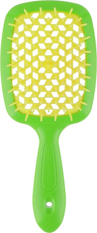 Расческа для волос, зеленый с желтым - Janeke Superbrush