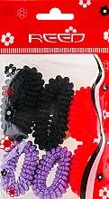 Духи, Парфюмерия, косметика Набор резинок для волос, 7579, 6шт, неоново-розовый + сиреневый + черный - Reed