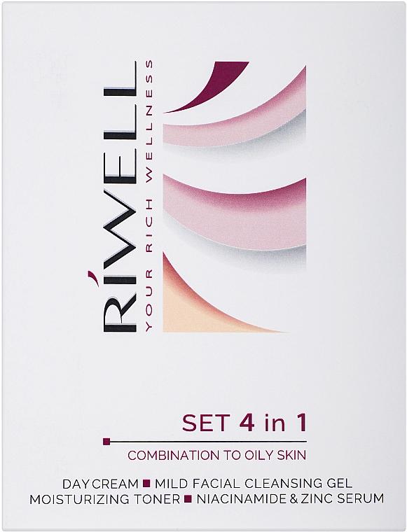 Набор для комбинированной и жирной кожи - Riwell Set 4 in 1 (gel/30ml + toner/50ml + serum/15ml + cream/15ml)