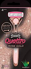 Духи, Парфюмерия, косметика Станок + 1 сменный картридж - Wilkinson Sword Quattro for Women Rose Gold