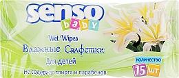 Духи, Парфюмерия, косметика Детские влажные салфетки, 15 шт, салатовая упаковка - Senso Baby
