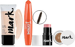 Духи, Парфюмерия, косметика Набор - Avon Mark Bright Quartz (fluid/30ml+mascara/10ml+blush/4g+gel/brow4g)