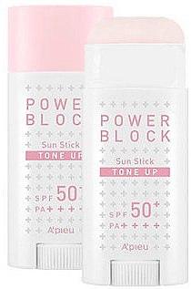 Осветляющий солнцезащитный стик - A'pieu Power Block Tone Up Sun Stick