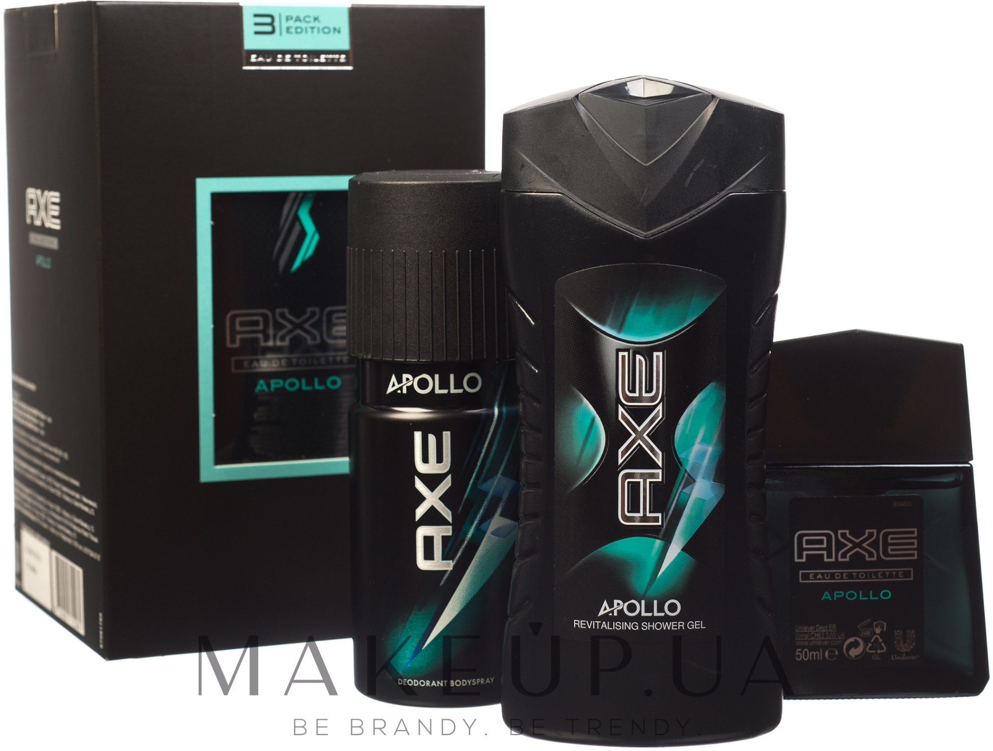 Makeup Axe Apollo 3 Pack Edition Deo Deodorant Bodyspray 150ml Twin Sh Gel 250ml Edt 50ml