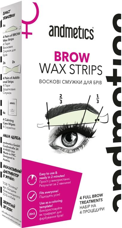 Набор для коррекции бровей - Andmetics Brow Wax Strips Women (strips/4x2pc + strips/4x2pc + wipes/4pc)