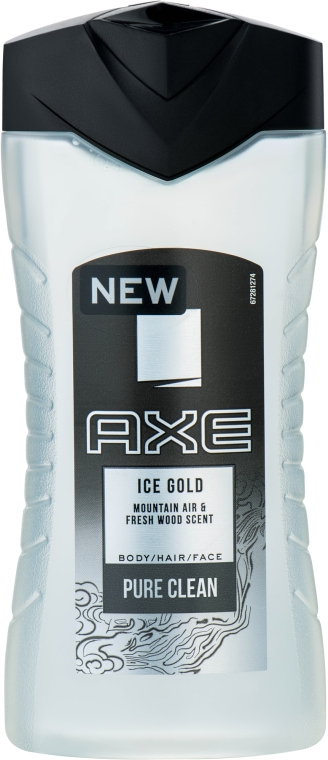 Гель для душа - Axe Ice Gold Body, Hair and Face Wash
