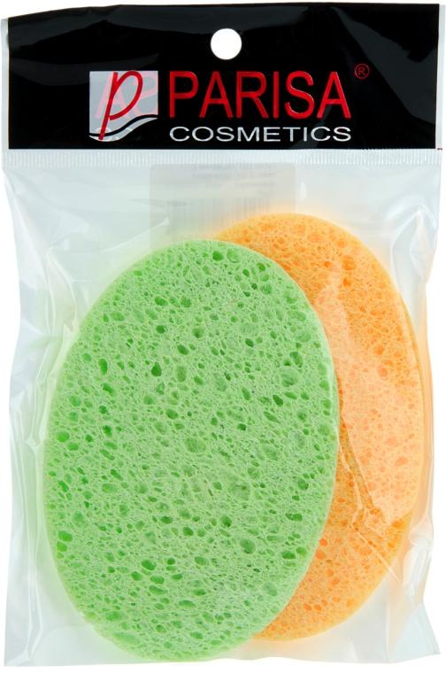 Губка для умывания С-11, овал, 2 шт, салатовая, оранжевая - Parisa Cosmetics