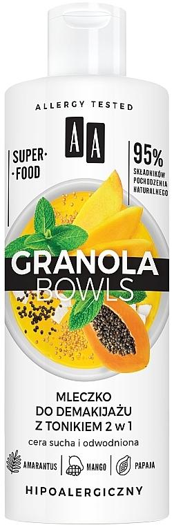 Молочко для снятия макияжа с тоником для чуствительной и обезвоженой кожи - AA Granola Bowls Makeup Remover Milk And Tonic 2 in 1
