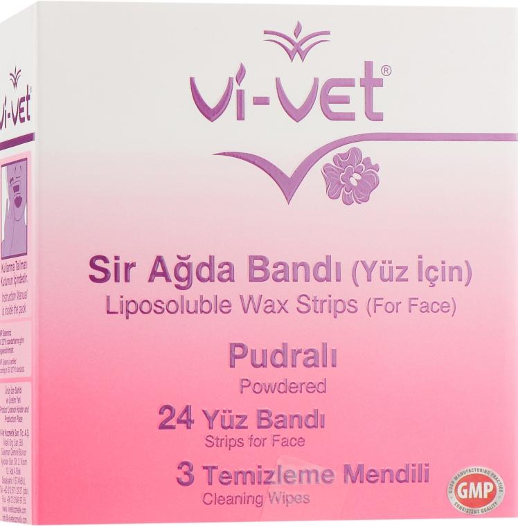 Восковые полоски для депиляции лица с тальком - Vi-Vet Liposoluble Wax Strips Powder