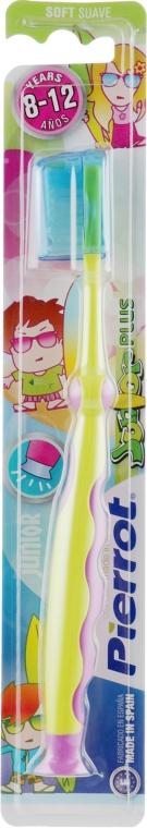 """Детская зубная щетка """"Юниор Плюс"""", салатово-малиновая - Pierrot Junior Plus Soft"""