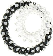Духи, Парфюмерия, косметика Резинки для волос, 414562, черная в белый горох + прозрачная - Glamour