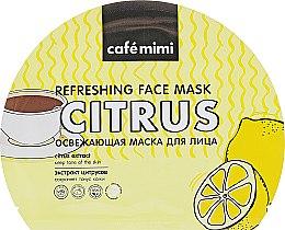 Духи, Парфюмерия, косметика Освежающая тканевая маска для лица - Cafe Mimi Refreshing Face Mask Citrus