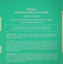 Пенная бомбочка для ванны с ароматом зеленого чая - A'pieu Meringue Bubble Bath Bomb Green Tea Walk — фото N3
