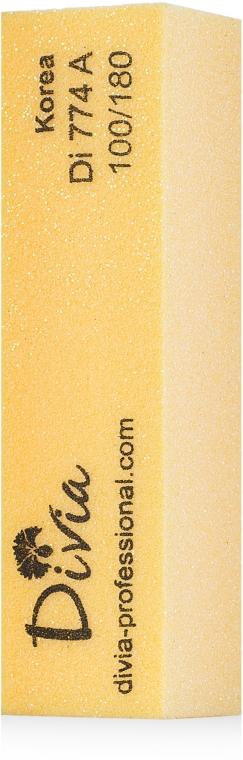 Баф-брусок четырехсторонний 100/180, желтый - Divia