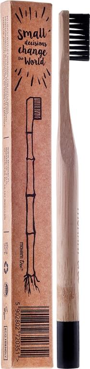 Зубная щетка бамбуковая, средней жесткости, с черной щетиной - Mohani Toothbrush