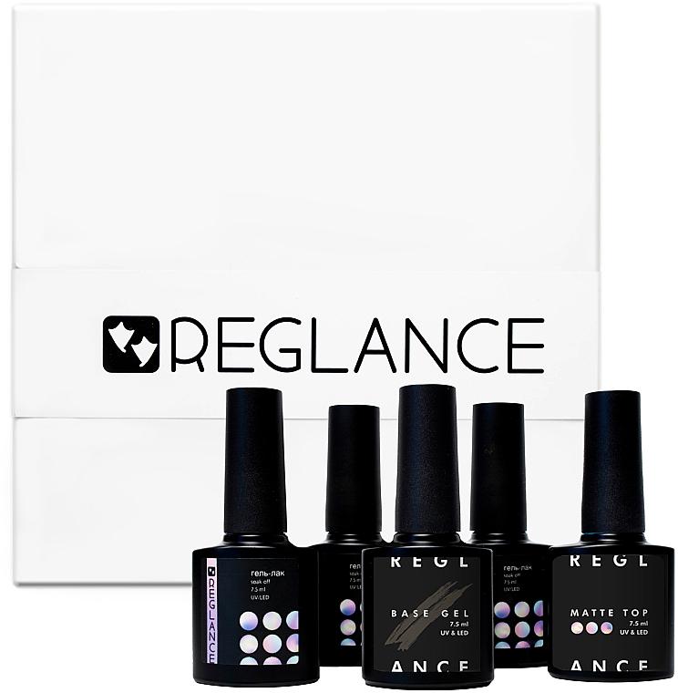Подарочный набор гель-лаков - Reglance (gel polish/50х7.5 ml + base coat/7.5 ml + top coat/7.5 ml + matte top/7.5 ml)
