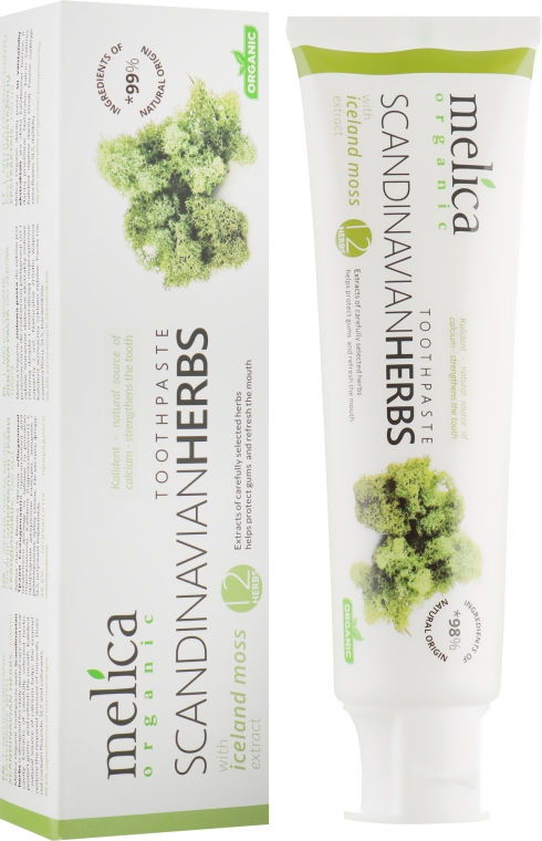 "Зубная паста ""Лечебные травы Скандинавии"" - Melica Organic Toothpaste Scandinavian Herbs With Iceland Moss Extract"