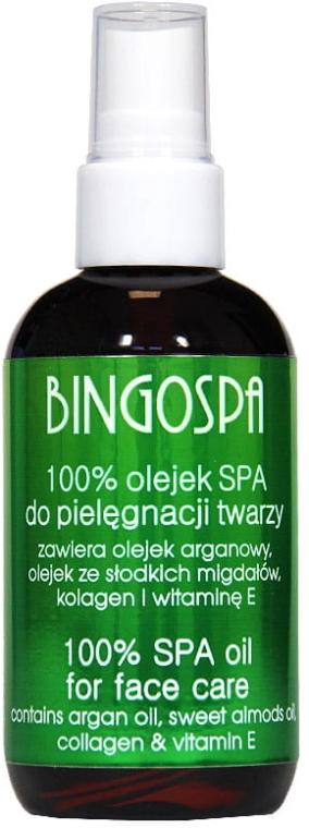 Эфирное масло 100% для лица с маслом аргановым и сладкого миндаля, коллагеном и витамином Е - BingoSpa Body Oil