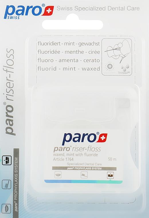 Зубная нить, вощенная, с мятой и фтором - Paro Swiss Riser-Floss