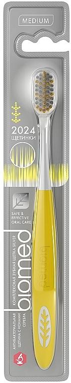 Зубная щетка средней жесткости, желтая - Biomed Silver Medium