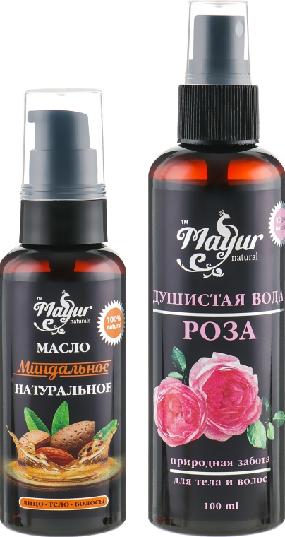 """Подарочный набор для волос и кожи """"Миндаль и Роза"""" - Mayur (oil/50ml + b/mist/120ml)"""