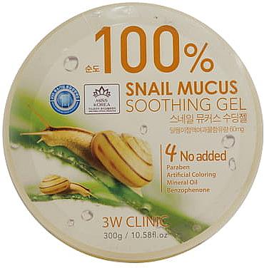 Гель c улиточным муцином 100% - 3W Clinic Snail Soothing Gel