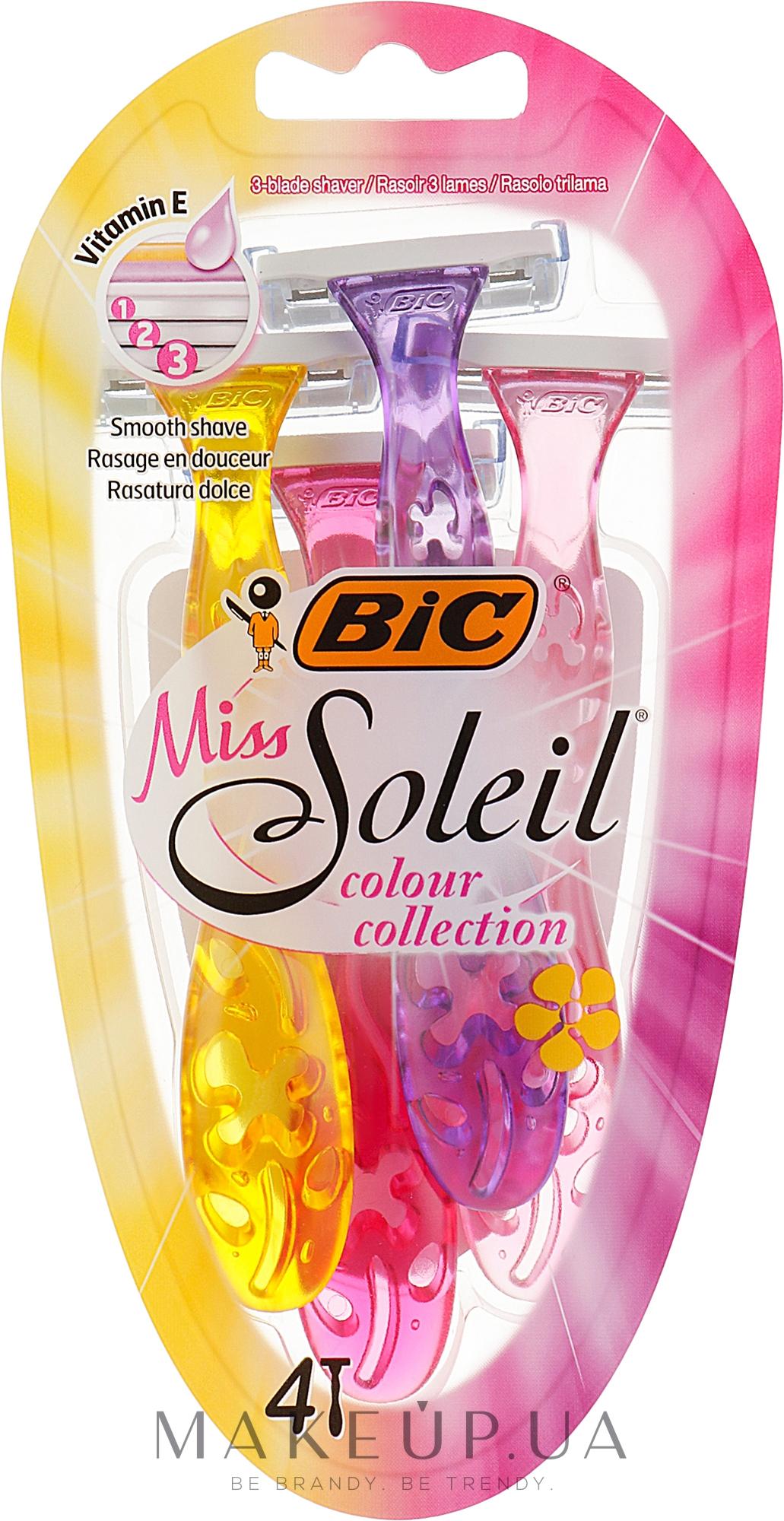 """Набір бритв без змінних картриджів """"Miss Soleil Colour Collection"""", 4 шт. - Bic — фото 4шт"""