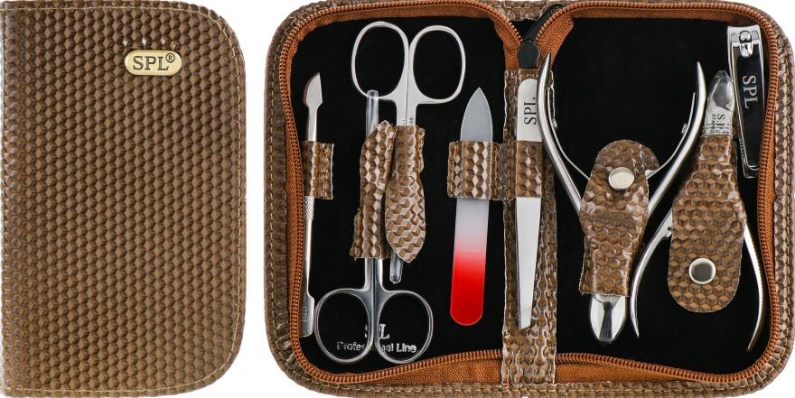 Маникюрный набор, 8 предметов, коричневый лакированный, 77203G - SPL