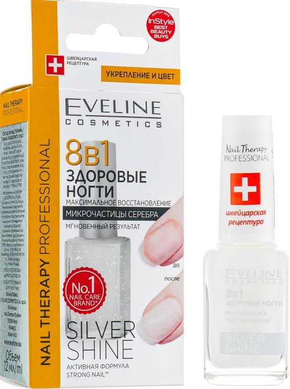 Средство для восстановления ногтей 8в1 - Eveline Cosmetics Nail Therapy Professional Silver Shine