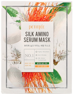 Маска для лица с протеинами шелка - Petitfee&Koelf Silk Amino Serum Mask
