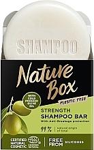 Духи, Парфюмерия, косметика Твердый шампунь для укрепления длинных волос и противодействия ломкости с оливковым маслом холодного отжима - Nature Box Strength Shampoo Bar With Cold Pressed Olive Oil