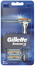 Духи, Парфюмерия, косметика Бритва с 3 сменными кассетами - Gillette Sensor 3