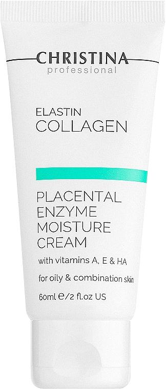 Увлажняющий крем с плацентой, энзимами, коллагеном и эластином для жирной и комбинированной кожи - Christina Elastin Collagen With Vitamins A, E & HA Moisture Cream