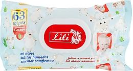 Духи, Парфюмерия, косметика Влажные салфетки для детей с экстрактом алоэ вера, 63 шт - Lili