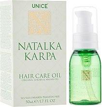 Духи, Парфюмерия, косметика Масло для волос - Unice Natalka Karpa Organic Jojoba & Argan Oil