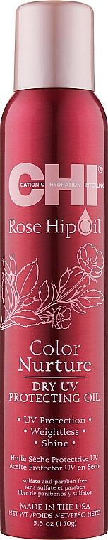 Сухой защитный спрей для окрашенных волос - CHI Rose Hip Oil Color Nurture Dry UV Protecting Oil