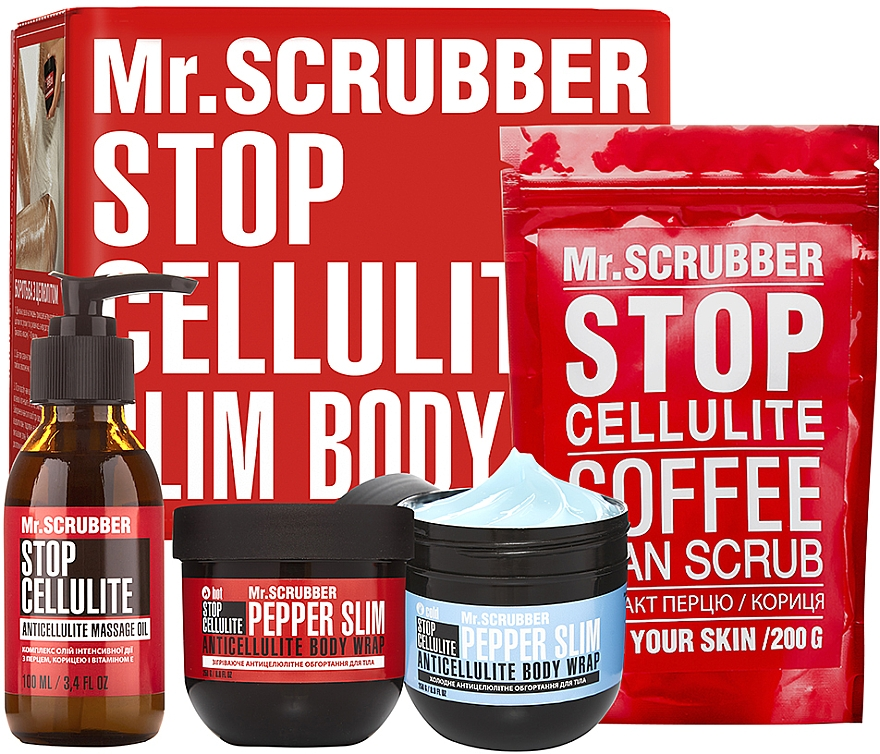 Набор - Mr.Scrubber Slim&Elastic Body (oil/100ml + cr/2x250g + scrub/200g)
