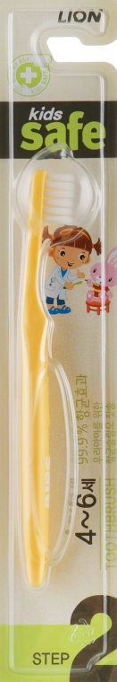 Зубная щетка детская с наносеребряным покрытием от 4 до 6 лет, желтая - CJ Lion Kids Safe
