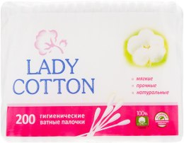 Духи, Парфюмерия, косметика Ватные палочки в полиэтиленовом пакете, 200шт - Lady Cotton