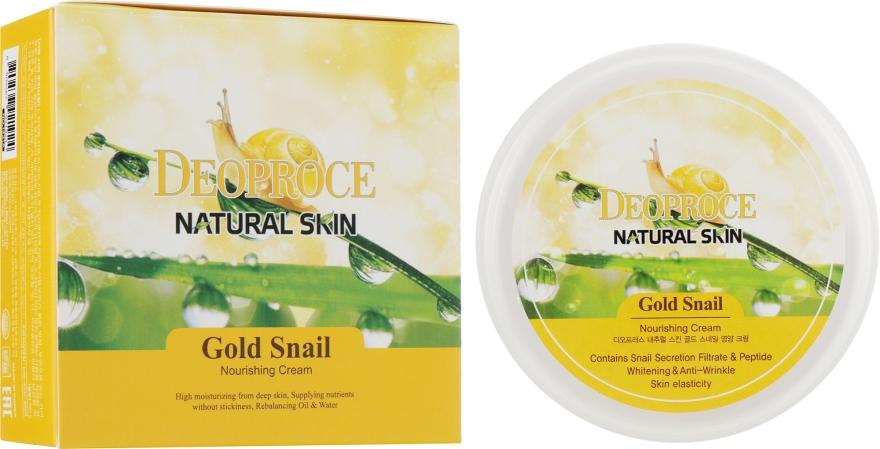 Антивозрастной регенерирующий крем для лица с гиалуроновой кислотой, муцином улитки, витамином Е и растительными экстрактами - Deoproce Natural Skin Gold Snail