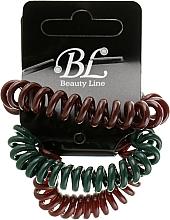 Духи, Парфюмерия, косметика Набор резинок для волос, 405004, коричневая+зеленая+коричневая - Beauty Line