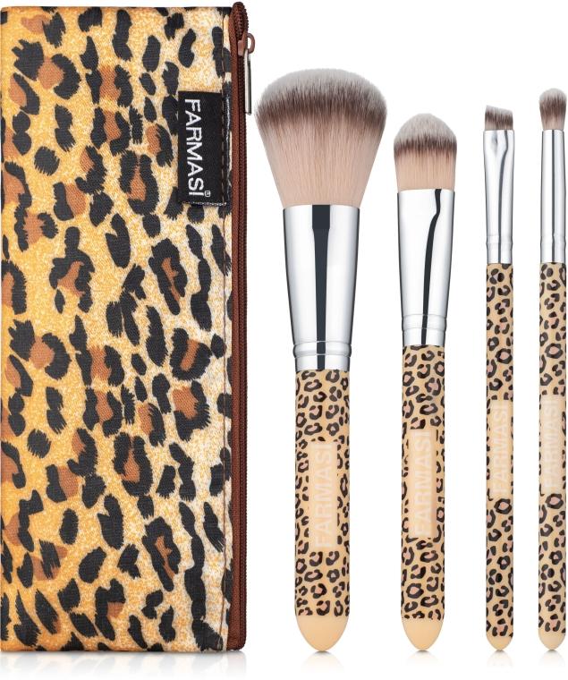 """Набор кисточек для макияжа в косметичке """"Леопард"""" - Farmasi"""