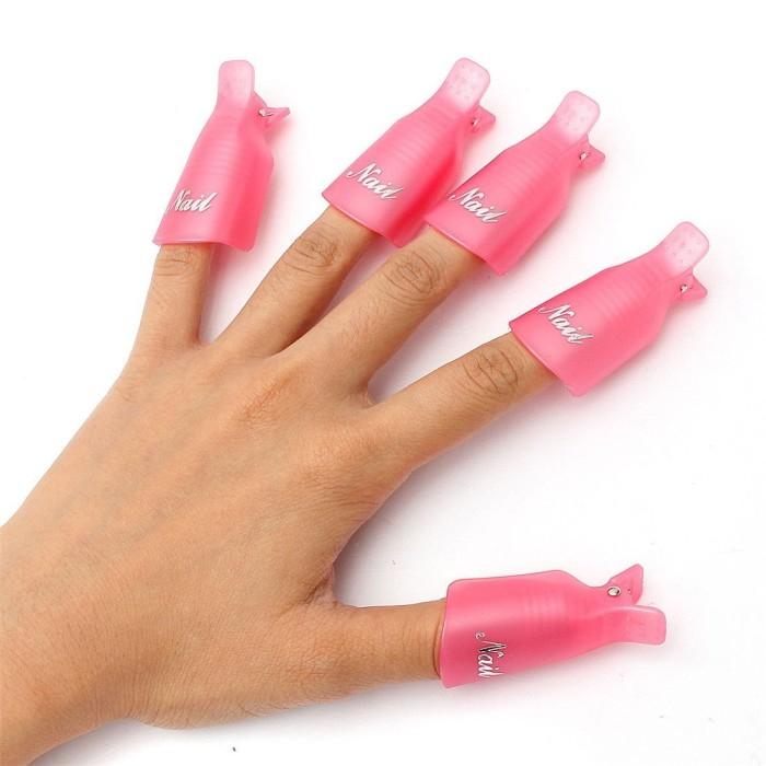 Клипсы пластиковые для снятия гель-лака, розовые - Nails Molekula