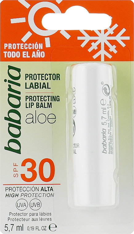 Защитный бальзам для губ с алоэ - Babaria Lip Balm With Aloe Vera SPF30