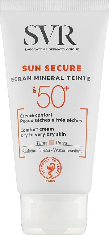 Солнцезащитный крем с тоном для сухой и очень сухой кожи - SVR Sun Secure Ecran Mineral Teinte Comfort Cream SPF50+