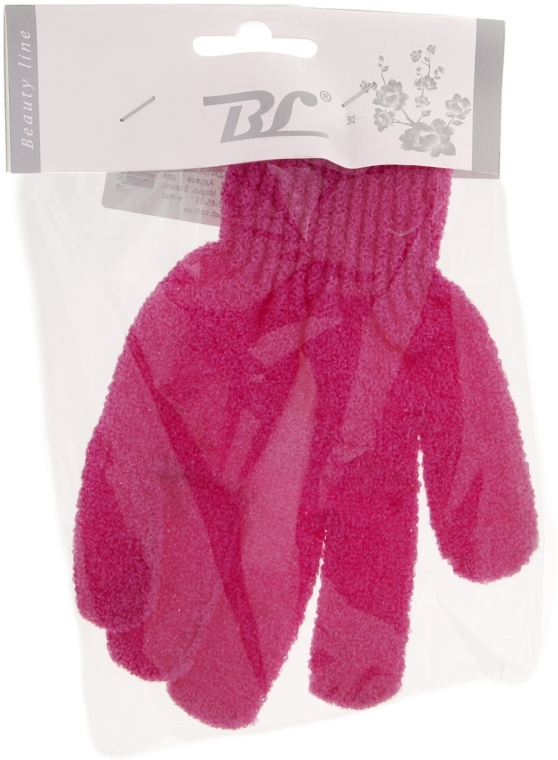 Мочалка-перчатка банная, малиновая - Beauty Line